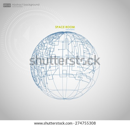 Wireframe mesh polygonal element. Sphere with connected lines and dots. Vector Illustration EPS10. Wireframe mesh polygonal element. Abstract form with connected lines and dots.  - stock vector