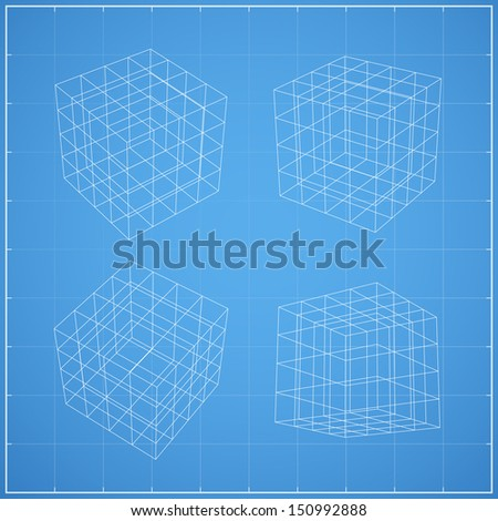 Wireframe of cubic box space on blueprint background - Vector illustration - stock vector