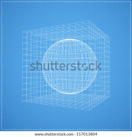 Wireframe of sphere inner wireframe of cubic space on blueprint background - Vector illustration - stock vector