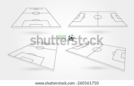 Wireframe perspective view of soccer field and soccer ball on white background. Vector illustration. - stock vector