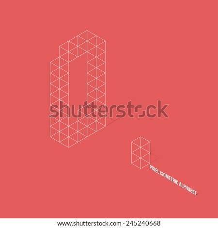 Wireframe Pixel Isometric Alphabet Letter Q - Vector Illustration - Flat Design - Typography - stock vector
