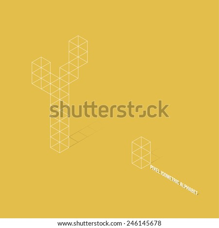 Wireframe Pixel Isometric Alphabet Letter Y - Vector Illustration - Flat Design - Typography - stock vector