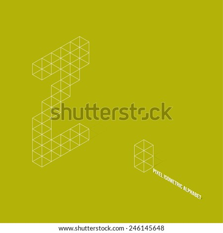 Wireframe Pixel Isometric Alphabet Letter Z - Vector Illustration - Flat Design - Typography - stock vector