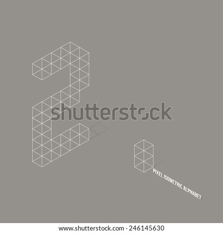 Wireframe Pixel Isometric Number 2 - Vector Illustration - Flat Design - Typography - stock vector
