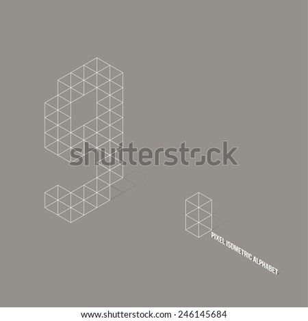 Wireframe Pixel Isometric Number 9 - Vector Illustration - Flat Design - Typography - stock vector