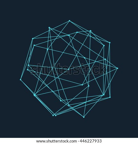 Wireframe Polygonal Element. Abstract 3D Object with Thin Lines and Dots