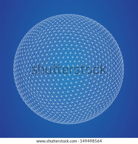 Wireframe spheres  - stock vector