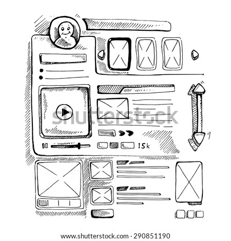 Wireframe UI Kit. Web design personal page template. Doodle picture. - stock vector