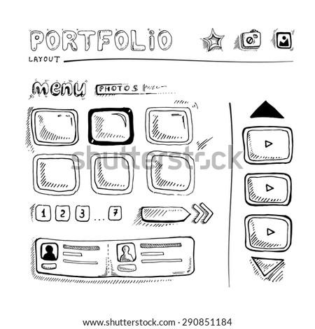 Wireframe UI Kit. Web design portfolio sketch elements - stock vector