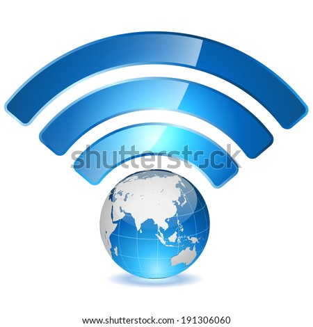 Wireless access point to global network concept. Globe with signal arcs isolated on white background. - stock vector