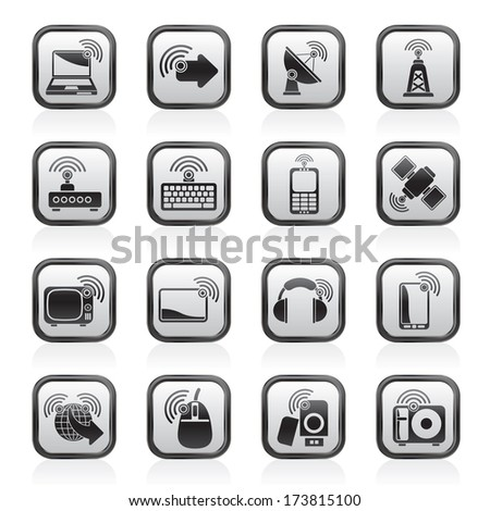 wireless and technology icons - vector icon set - stock vector