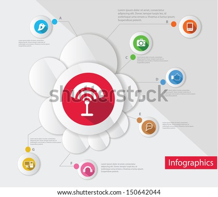 Wireless and technology,Infographic design,vector - stock vector