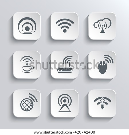 Wireless and Wi Fi Web Icons Set for Remote Access and Communication Via Radio Waves - Vector White App Buttons Design Element With Shadow. Trendy Design Template - stock vector