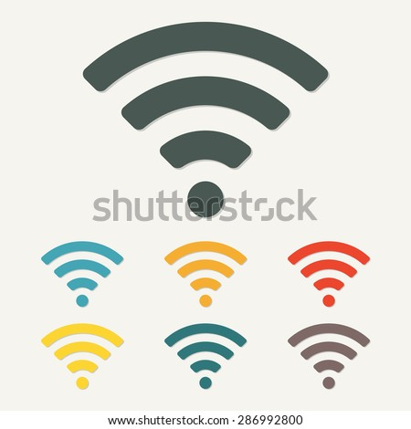 Wireless and wifi icon or sign for remote internet access. Podcast symbol. Colorful vector illustration. - stock vector