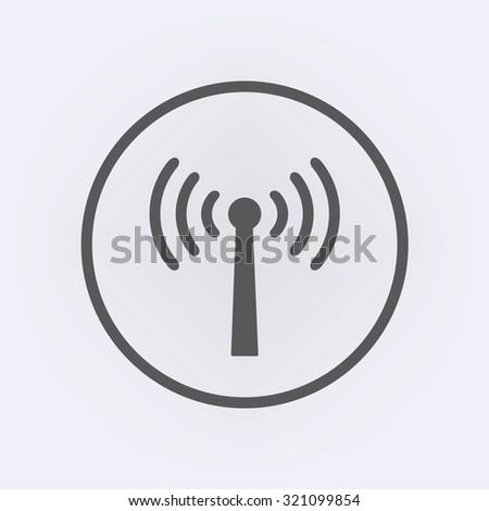 Wireless antenna icon in circle . Vector illustration - stock vector