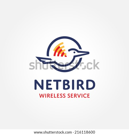 Wireless bird logo symbol concept - stock vector