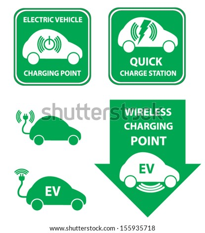 Wireless charging station for electric vehicle - stock vector
