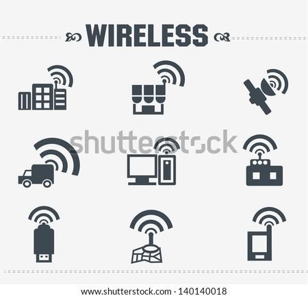Wireless & communication icon set,vector - stock vector