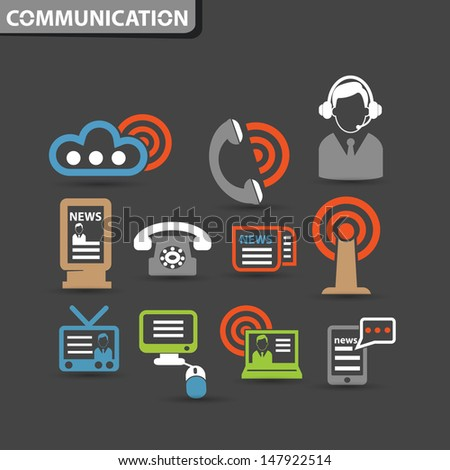 Wireless & communication icons,vector - stock vector