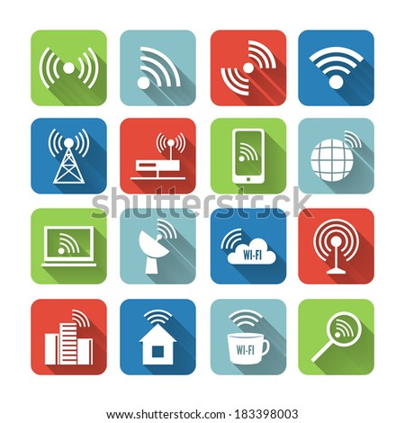 Wireless communication network business flat icons set of global connection wifi signal search and cell tower and isolated vector illustration