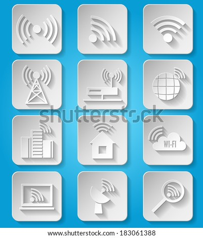 Wireless communication network business paper icons set of cafe wifi hotspot signal search and router device isolated vector illustration - stock vector
