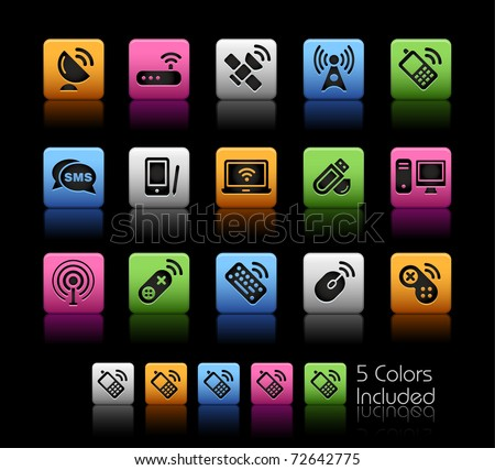 Wireless & Communications // Color Box -------It includes 5 color versions for each icon in different layers --------- - stock vector