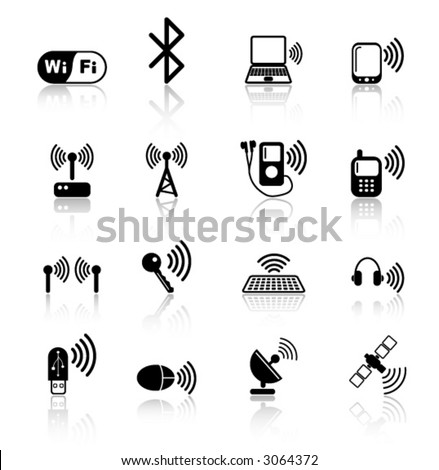 Wireless communications iconset - stock vector