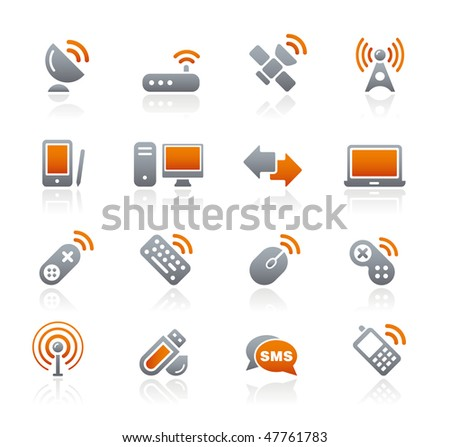 Wireless & Communications Web Icons // Graphite Series - stock vector