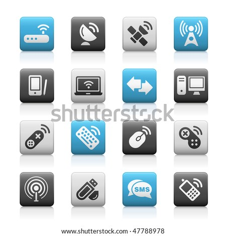 Wireless & Communications Web Icons // Matte Series - stock vector