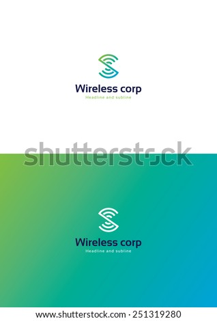 Wireless corporation logo teamplate. - stock vector