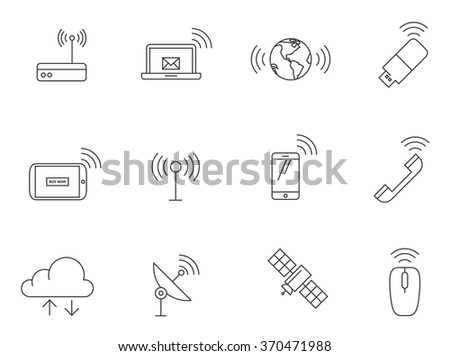 Wireless equipment and gadget icons in thin outlines.