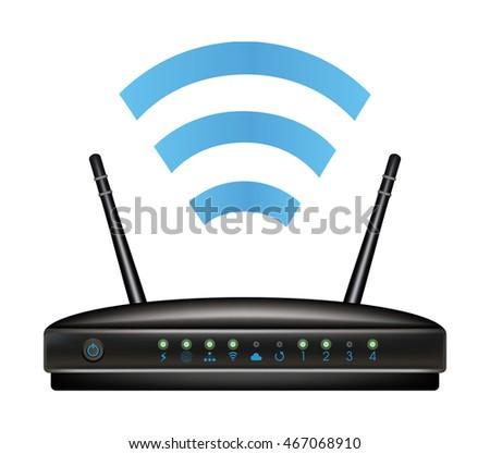 Wireless Ethernet Modem Router Stock Vector 467068910 - Shutterstock
