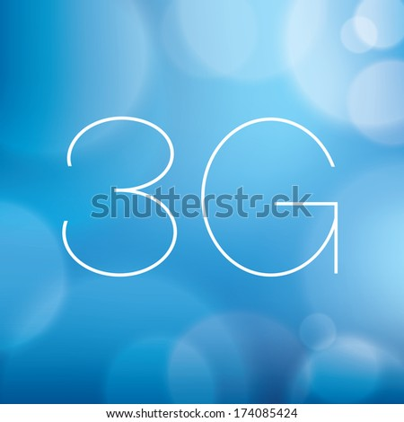 Wireless 3G word on blurry blue background - stock vector