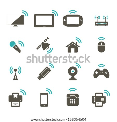 Wireless Icon - Color - stock vector