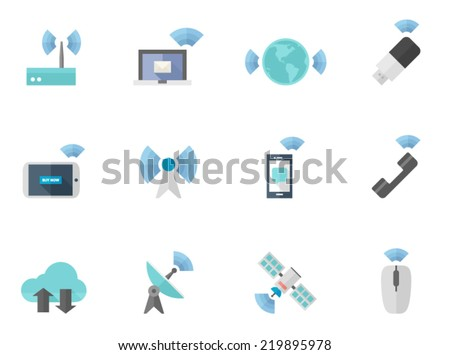 Wireless icon series in flat colors style.  - stock vector