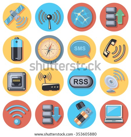 Wireless icon set - stock vector