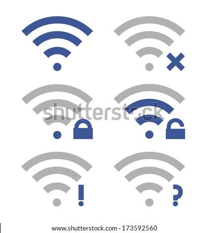 Wireless icon set. WiFi locked. WiFi unlocked. Wireless icon offline. Wireless icon online. Blue and gray on white isolated background. Vector illustration. - stock vector