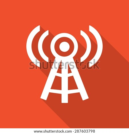 Wireless Icon with a long shadow - stock vector