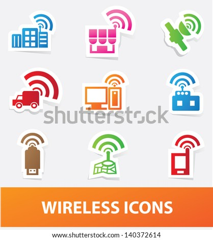 Wireless icons,vector - stock vector