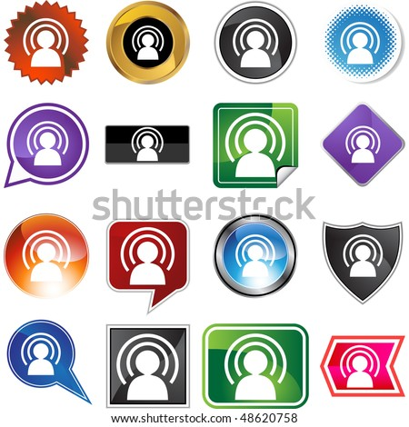Wireless man web button isolated on a background