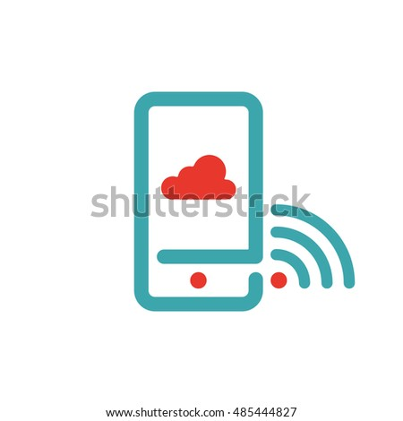 Wireless network and cloud computing icon on smartphone screen vector.