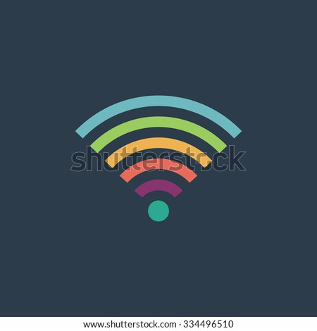 Wireless Network. Colorful vector icon. Simple retro color modern illustration pictogram. Collection concept symbol for infographic project and logo - stock vector