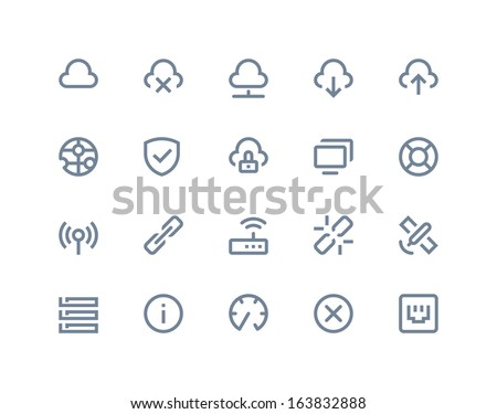 Wireless network icons. Line series - stock vector