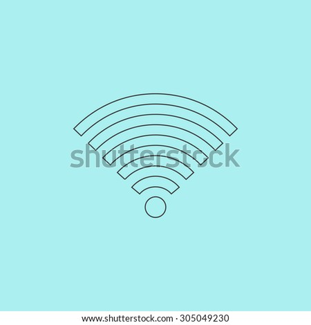 Wireless Network. Simple outline flat vector icon isolated on blue background - stock vector