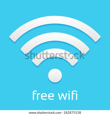 Wireless Network Symbol, flat icon isolated on a blue background for your design - stock vector