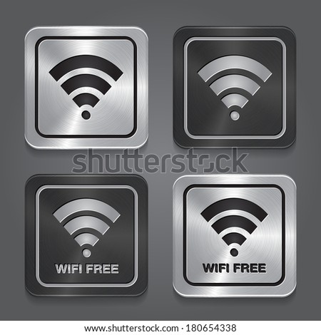 Wireless Network Symbol. Metal app icon. Vector - stock vector
