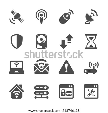 wireless network technology icon set, vector eps10. - stock vector