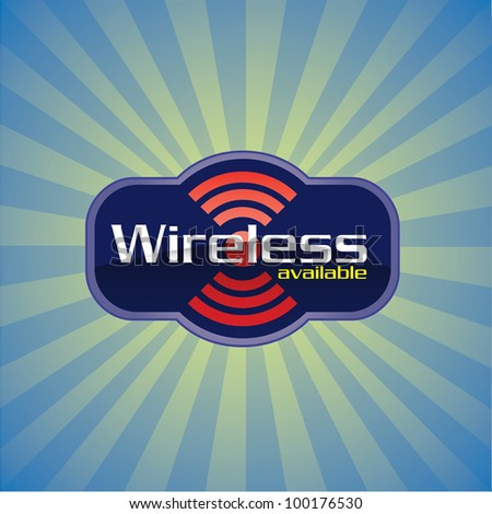Wireless or WiFi available glossy vector icon - stock vector