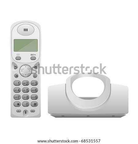 Wireless phone with cradle. Realistic vector illustration.
