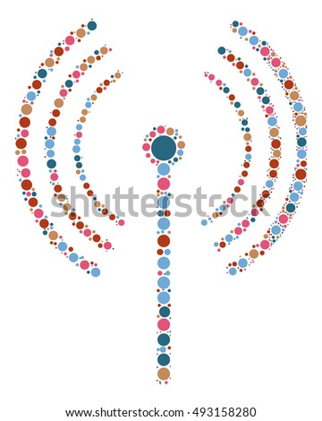 wireless signal shape vector design by color point